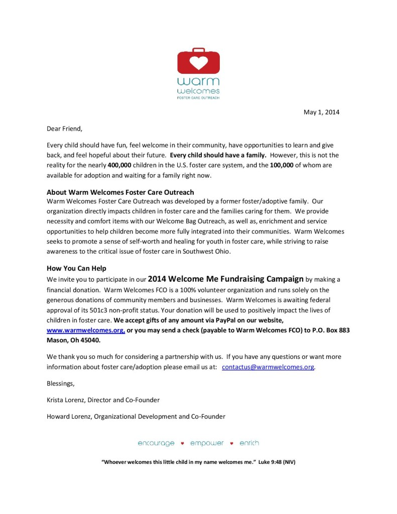 Warm Welcomes Fundraising Letter May 2014