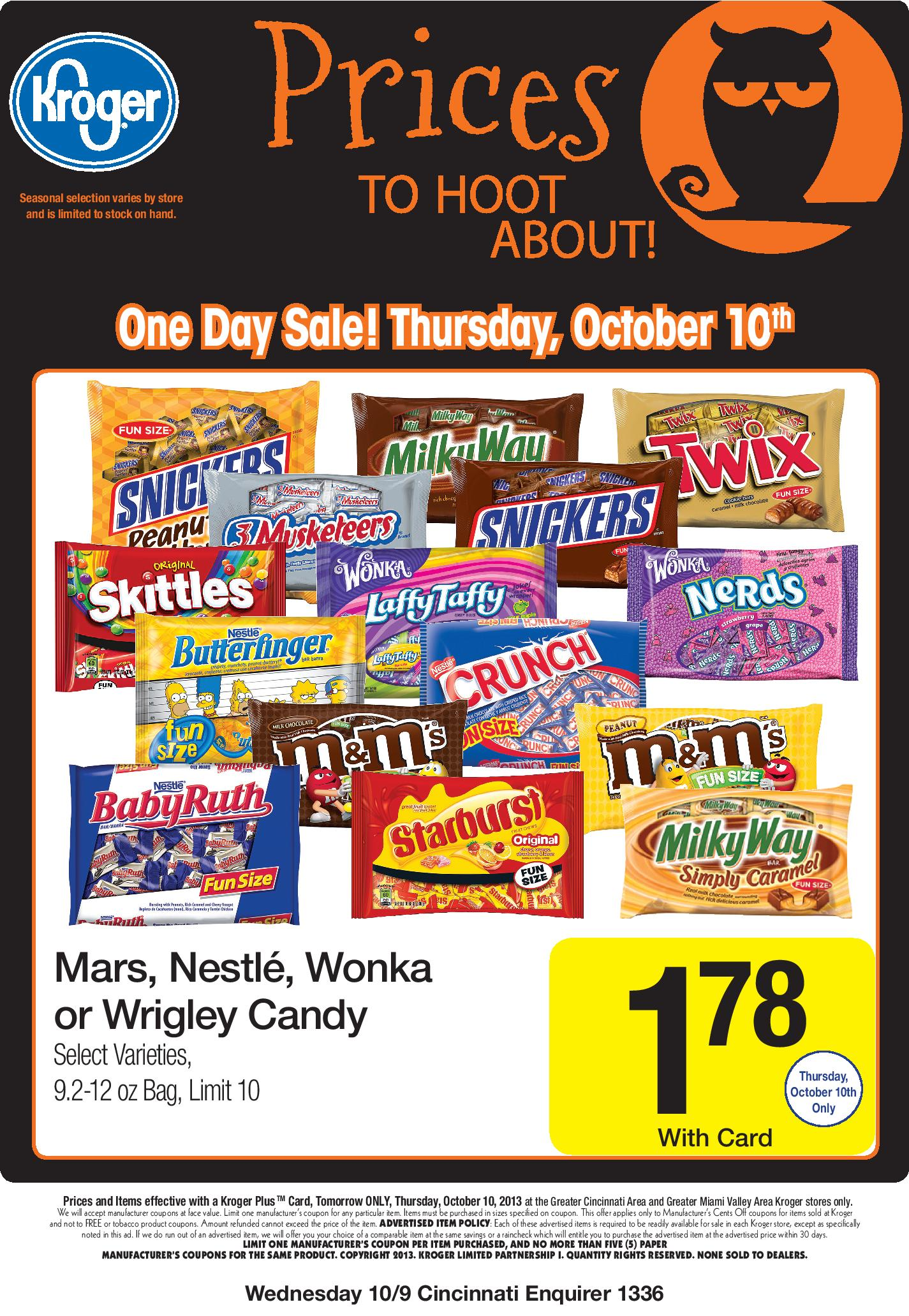 kroger halloween candy sale this thursday | take 10 with tricia