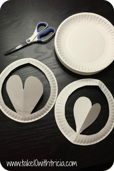 Itu0027s best if an adult prepares the plates before the decorating. Fold the plate in half and cut out a heart shape as shown above and below. & crafts | Take 10 With Tricia